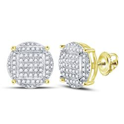 5/8 CTW Mens Round Diamond Circle Cluster Stud Earrings 10kt Yellow Gold - REF-30N3Y
