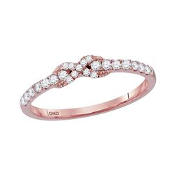 1/4 CTW Round Diamond Infinity Knot Stackable Ring 10kt Rose Gold - REF-18X3T