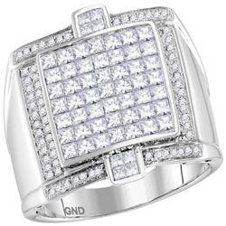 2 CTW Mens Princess Diamond Square Luxury Cluster Ring 14kt White Gold - REF-179H9W