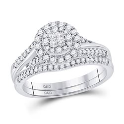1/2 CTW Princess Diamond Bridal Wedding Engagement Ring 14kt White Gold - REF-60H3W