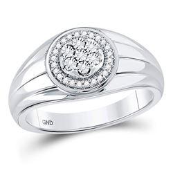 1/10 CTW Mens Round Diamond Circle Cluster Ring 10kt White Gold - REF-27F5M