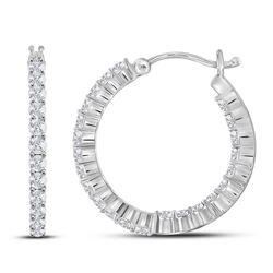 2 CTW Round Diamond Inside Outside Hoop Earrings 14kt White Gold - REF-126X3T