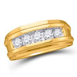 2 CTW Mens Round Diamond 5-Stone Wedding Ring 14kt Yellow Gold - REF-396N3Y