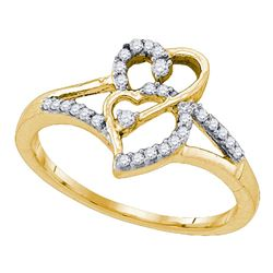 1/6 CTW Round Diamond Double Heart Promise Bridal Ring 10kt Yellow Gold - REF-15K5R
