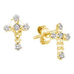 1/20 CTW Round Diamond Cross Earrings 14kt Yellow Gold - REF-9Y3X