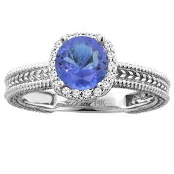 1.77 CTW Tanzanite & Diamond Ring 14K White Gold - REF-59R9H