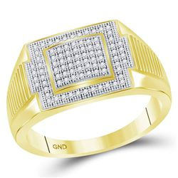1/4 CTW Mens Round Diamond Rectangle Cluster Ring 10kt Yellow Gold - REF-30T3K