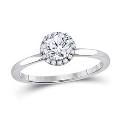 7/8 CTW Round Diamond Solitaire Bridal Wedding Engagement Ring 14kt White Gold - REF-222X3T