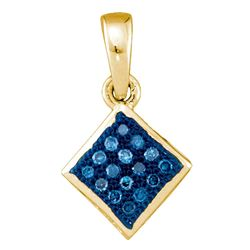 1/20 CTW Round Blue Color Enhanced Diamond Square Pendant 10kt Yellow Gold - REF-4A8N