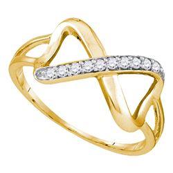 1/10 CTW Round Diamond Infinity Ring 10kt Yellow Gold - REF-11X9T