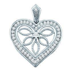 1/10 CTW Round Diamond Vintage-style Heart Outline Pendant 10kt White Gold - REF-11T9K