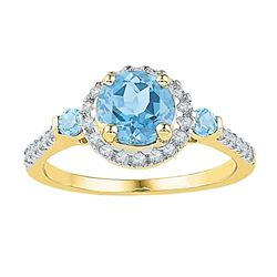 1/5 CTW Round Lab-Created Blue Topaz Solitaire Diamond Ring 10kt Yellow Gold - REF-24N3Y