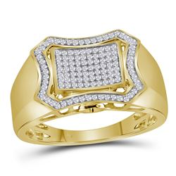 1/3 CTW Mens Round Diamond Curved Octagon Cluster Ring 10kt Yellow Gold - REF-45N3Y