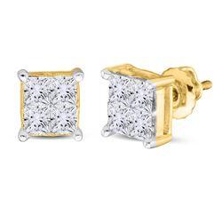1 CTW Princess Diamond Square Cluster Stud Earrings 14kt Yellow Gold - REF-86T9K