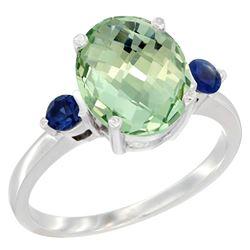 2.64 CTW Amethyst & Blue Sapphire Ring 14K White Gold - REF-32W3F