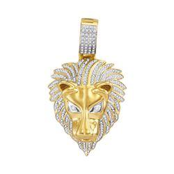 7/8 CTW Mens Round Diamond Lion Head Animal Charm Pendant 10kt Yellow Gold - REF-93M5A