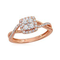 1/2 CTW Round Diamond Square Cluster Twist Ring 14kt Rose Gold - REF-47H9W