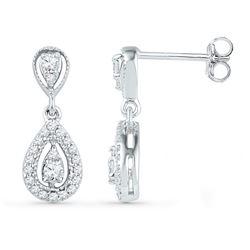 1/3 CTW Round Diamond Teardrop Dangle Screwback Earrings 10kt White Gold - REF-27M5A
