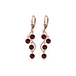 Genuine 4.95 ctw Garnet Earrings 14KT Rose Gold - REF-53N8R