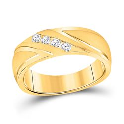1/4 CTW Mens Round Channel-set Diamond Wedding Anniversary Ring 10kt Yellow Gold - REF-47F9M