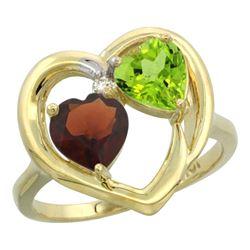 2.61 CTW Diamond, Garnet & Peridot Ring 10K Yellow Gold - REF-23X7M