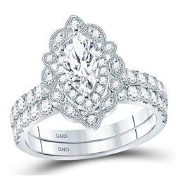 2 CTW Marquise Diamond Bridal Wedding Engagement Ring 14kt White Gold - REF-317X9T