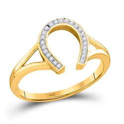 1/20 CTW Round Diamond Horseshoe Lucky Ring 10kt Yellow Gold - REF-13A2N