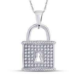 1/8 CTW Round Diamond Key Lock Dangle Pendant 10kt White Gold - REF-11R9H