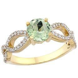 1 CTW Amethyst & Diamond Ring 14K Yellow Gold - REF-49F6N
