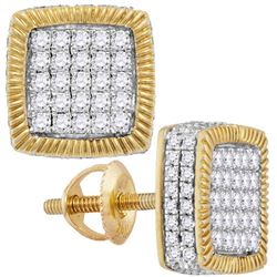7/8 CTW Mens Round Diamond Square Fluted Cluster Earrings 10kt Yellow Gold - REF-47N9Y