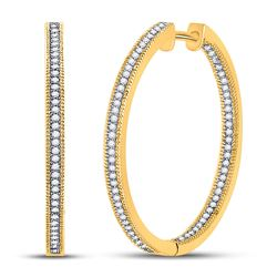 1/2 CTW Round Diamond Inside Outside Hoop Earrings 10kt Yellow Gold - REF-39R6H