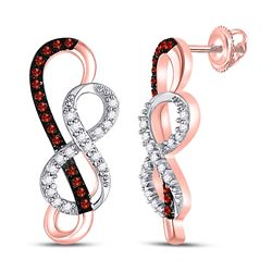 1/6 CTW Round Red Color Enhanced Diamond Infinity Earrings 10kt Rose Gold - REF-16R8H