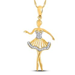 1/10 CTW Round Diamond Ballerina Dancer Fashion Pendant 10kt Yellow Gold - REF-10H8W