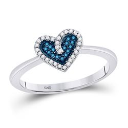 1/10 CTW Round Blue Color Enhanced Diamond Heart Ring 10kt White Gold - REF-11M9A