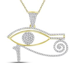 1/2 CTW Mens Round Diamond Eye of Horus Charm Pendant 10kt Yellow Gold - REF-32W3F