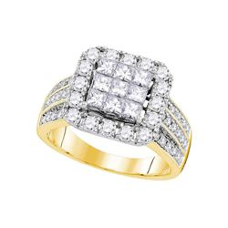 2 CTW Princess Diamond Cluster Bridal Wedding Engagement Ring 14kt Yellow Gold - REF-167F9M