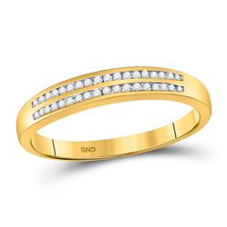 1/5 CTW Mens Round Diamond Slender Double Row Ring 10kt Yellow Gold - REF-15H5W