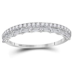 3/8 CTW Round Diamond Modern Stackable Ring 10kt White Gold - REF-41Y9X