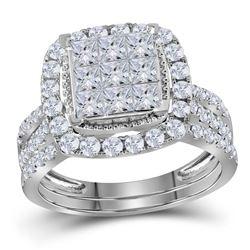 1 & 3/4 CTW Princess Diamond Halo Bridal Wedding Engagement Ring 14kt White Gold - REF-120F3M
