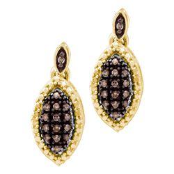 1/3 CTW Round Brown Diamond Dangle Earrings 10kt Yellow Gold - REF-16W8F