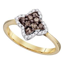 1/3 CTW Round Brown Diamond Cluster Ring 10kt Yellow Gold - REF-18T3K