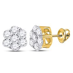 1/3 CTW Round Diamond Flower Cluster Earrings 10kt Yellow Gold - REF-18M3A