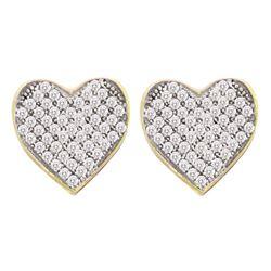 1/10 CTW Round Diamond Heart Cluster Screwback Earrings 10kt Yellow Gold - REF-9W6F