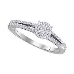 1/5 CTW Round Diamond Split-shank Circle Cluster Ring 10kt White Gold - REF-14R4H