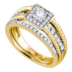 1 CTW Round Diamond Halo Bridal Wedding Engagement Ring 14kt Yellow Gold - REF-113F9M