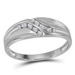 1/8 CTW Mens Round Diamond Double Row Slender Wedding Ring 10kt White Gold - REF-11T9K