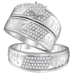 3/8 CTW His & Hers Round Diamond Cluster Matching Bridal Wedding Ring 10kt White Gold - REF-39Y6X