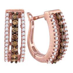 1/2 CTW Brown White Diamond Pave Hoop Earrings 10kt Rose Gold - REF-27R5H