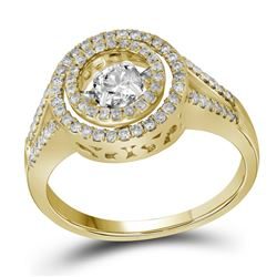 5/8 CTW Round Diamond Moving Twinkle Bridal Wedding Engagement Ring 10kt Yellow Gold - REF-65N9Y