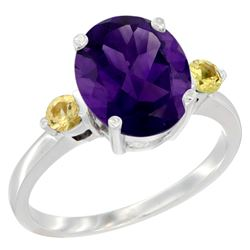 2.64 CTW Amethyst & Yellow Sapphire Ring 14K White Gold - REF-32M3A